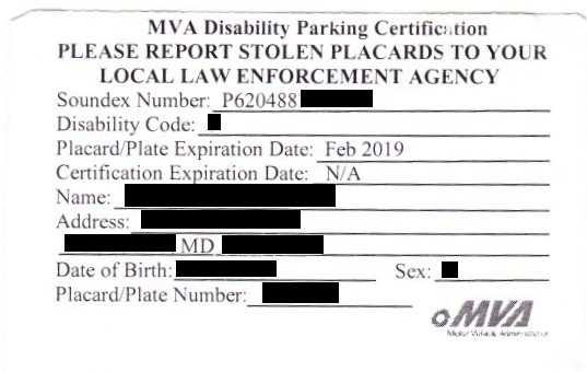Maryland MVA Disability Parking Permit
