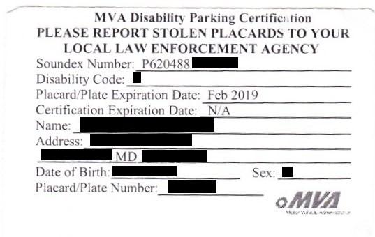 maryland mva disability parking permit